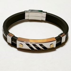 Other - Men's Stainless Steel Black Silicone Bracelet